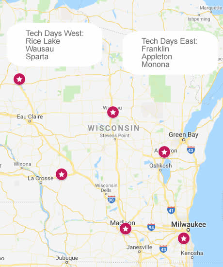 Map of Tech Days workshops 2019
